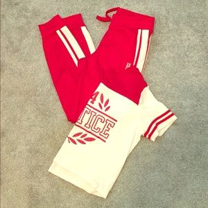 EUC Justice girls sporty shirt and joggers set